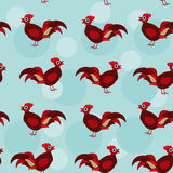 Seamless pattern with funny cute rooster bird on a Stock Images