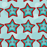 Seamless pattern with funny cute starfish animal Stock Images