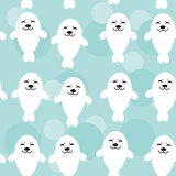Seamless pattern with funny cute white seals Stock Images