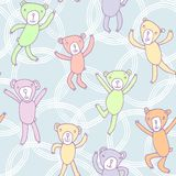 Seamless pattern with funny dancing bears Stock Images