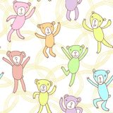 Seamless pattern with funny dancing bears Royalty Free Stock Photography