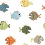 Seamless pattern with funny fish Stock Photo