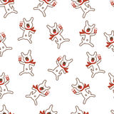 Seamless Pattern with Funny Dog and Gift. Vector illustration Royalty Free Stock Images