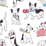 Seamless pattern with funny dogs demonstrating bad habits and disobedient behavior. Backdrop with naughty domestic. Animals or pets. Colored hand drawn vector vector illustration