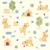 Seamless pattern of funny dogs playing in the garden Royalty Free Stock Images