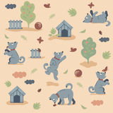 Seamless pattern of funny dogs playing in the garden on dark background Stock Photo