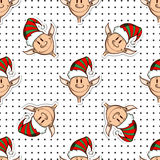 Seamless Pattern Funny Elves Stock Photo