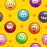 Seamless pattern with funny emoticon faces Stock Images
