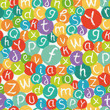 Seamless pattern - funny english alphabet, all letters in colorful circles. Stock Image