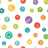 Seamless pattern - funny english alphabet. Hand drawn chalk like letters in colorful circles. Royalty Free Stock Images