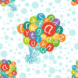 Seamless pattern - funny english alphabet with letters in colorful air balloons. Royalty Free Stock Photo