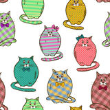 Seamless pattern of funny fat cats Stock Photo