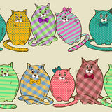 Seamless pattern of funny fat cats Stock Images
