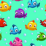 Seamless pattern with funny fishes Stock Photography
