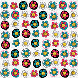 Seamless pattern with funny flowers Royalty Free Stock Photography