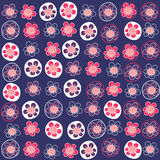 Seamless pattern with funny flowers Stock Photo