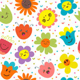 Seamless pattern with funny flowers. Cute cartoon background Royalty Free Stock Photos