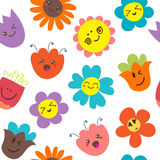 Seamless pattern with funny flowers. Cute floral background. Vector illustration Vector Illustration