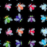 Seamless pattern Funny fly colorful red green blue violet pink with transparent wings on black background. Vector Royalty Free Stock Photos