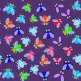 Seamless pattern Funny fly colorful red green blue violet pink with transparent wings on violet background. Vector Stock Photo
