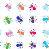 Seamless pattern Funny fly colorful red green blue violet pink with transparent wings on white background. Vector Royalty Free Stock Image