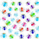 Seamless pattern Funny fly colorful red green blue violet pink with transparent wings on white background. Vector Stock Photo