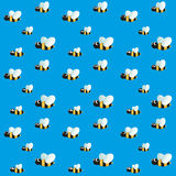 Seamless pattern with funny flying bees on sky Stock Images