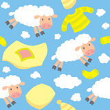 Seamless pattern with funny flying sheep Royalty Free Stock Photography