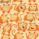 Seamless pattern with funny fox expressing various emotions in different poses. Happy, angry, smart, sad, cunning. Cartoon character against orange background Royalty Free Stock Photography