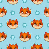 Seamless pattern with funny fox faces Royalty Free Stock Image