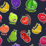 Seamless pattern with funny fruit characters. Seamless pattern with funny cartoon fruit characters, texture vector illustration