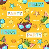 Seamless pattern with funny fruit in sunglasses on yellow background - vector illustration, eps royalty free illustration