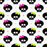 Seamless pattern with funny halloween skulls over white Royalty Free Stock Image