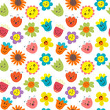 Seamless pattern with funny and happy flowers. Cute cartoon back Royalty Free Stock Photos