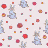 Seamless pattern with funny hare Stock Photography
