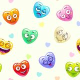 Seamless pattern with funny hearts Stock Photo