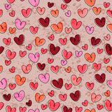 Seamless pattern with funny hearts Royalty Free Stock Photo