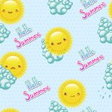 Seamless pattern of funny illustrations  the sun Royalty Free Stock Photos