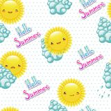 Seamless pattern of funny illustrations the sun Royalty Free Stock Photo