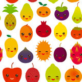 Seamless pattern funny kawaii fruit Pear Mangosteen tangerine pineapple papaya persimmon pomegranate lime apricot plum dragon frui. T figs mango peach lemon Stock Images