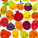 Seamless pattern funny kawaii fruit Pear Mangosteen tangerine pineapple papaya persimmon pomegranate lime apricot plum dragon frui. T figs mango peach lemon Stock Photography