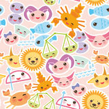 Seamless pattern Funny Kawaii zodiac sign Stock Image