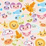 Seamless pattern Funny Kawaii zodiac sign Stock Image