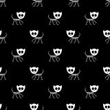 Seamless pattern with funny kitty skeletons Royalty Free Stock Photo