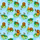Seamless pattern with funny lion play with butterfly on blue bac Royalty Free Stock Photography