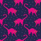 Seamless pattern, funny magenta cats in everyday poses, playing in Navy blue space. Vector illustration vector illustration