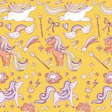 Seamless pattern with funny magic elements. Unicorn, wizard and miracle. Vector background Royalty Free Stock Photos
