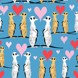 Seamless pattern of funny meerkat lovers Royalty Free Stock Photography