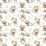 Seamless pattern with funny monkeys. Stock Photos