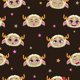 Seamless pattern with funny monster faces Royalty Free Stock Photography